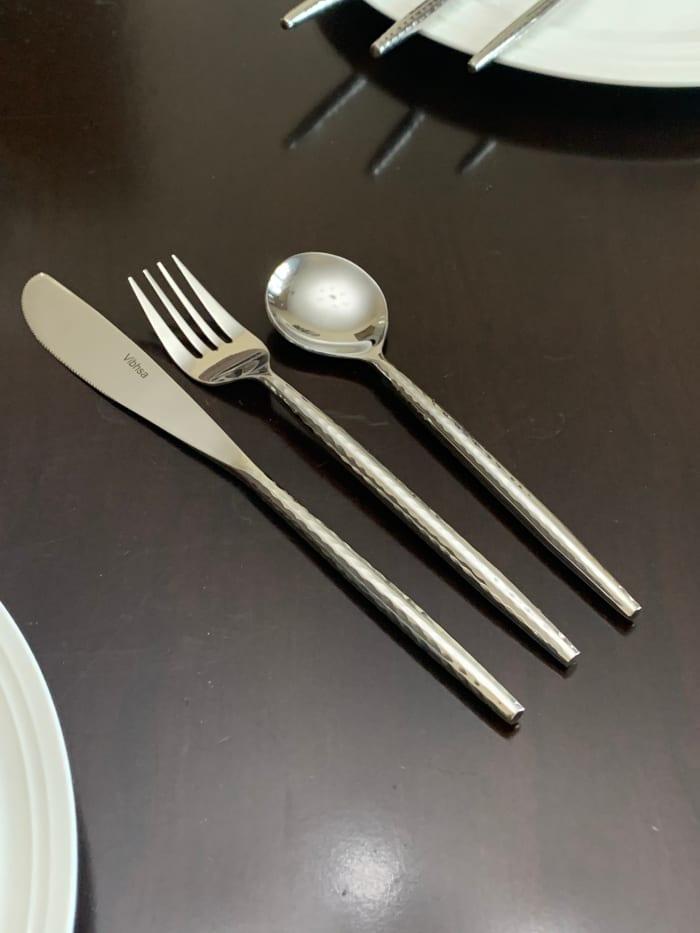 Silver Hammered Stainless Steel 36 Piece Flatware Set