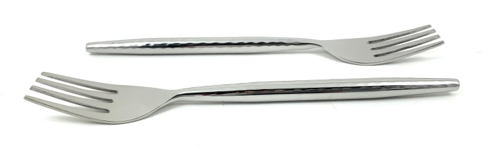 Hammered Stainless Steel Silver Glassy Set of 6 Dinner Forks