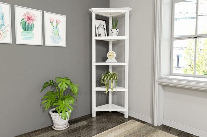 NewRidge White 4-Tier Corner Wooden Bookcase