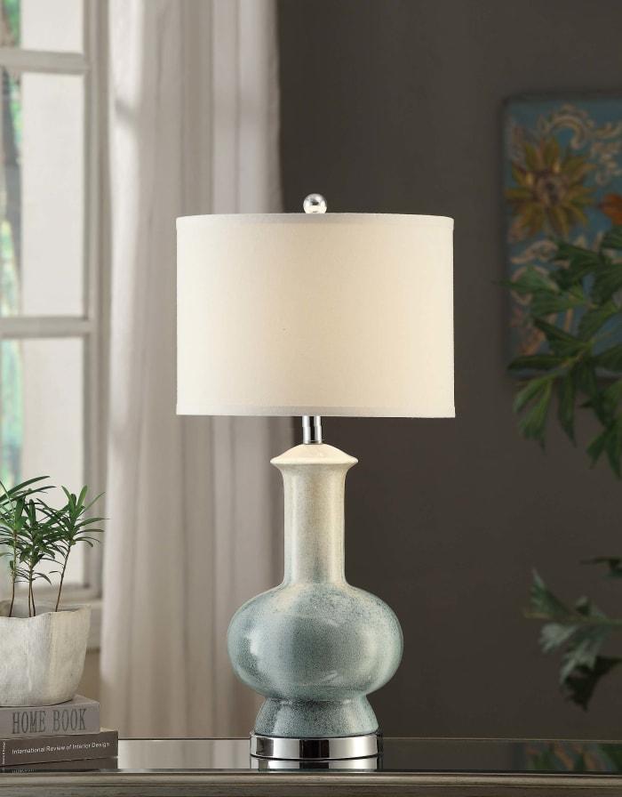 Idris Blue Ceramic Urn Table Lamp