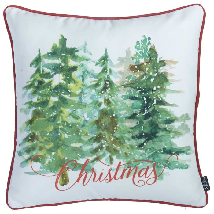 Christmas Tree Forrest Printed Decorative Throw Square Pillow Cover