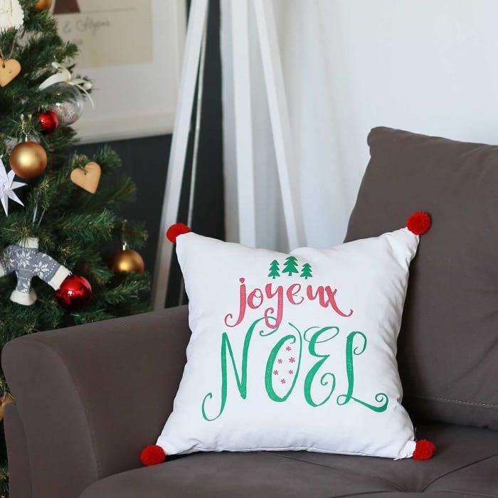 Joyeux Noel Printed Decorative Throw Square Pillow Cover