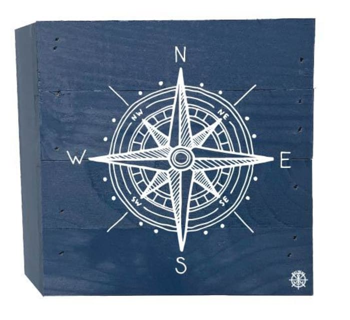 COMPASS ON BLUE Wall Accent