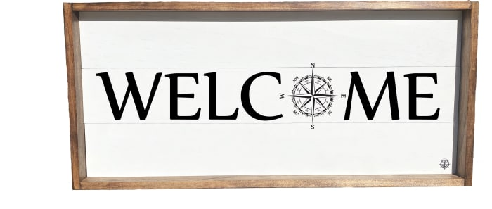 WELCOME COMPASS SIGN Wall Accent