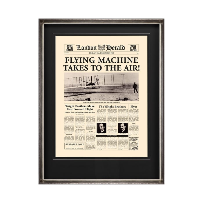 Flying Machine Takes to the Air! Wrapped Canvas Wall Art
