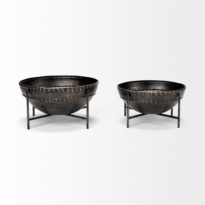 Cauldron Brown Metal Set of 2 Bowls