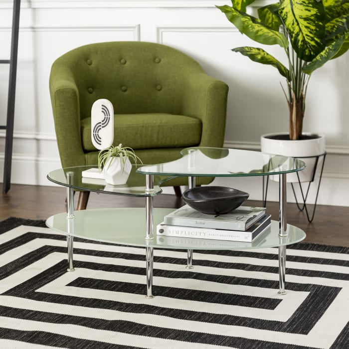 Multi-Level Glass Oval Coffee Table with Chrome Legs
