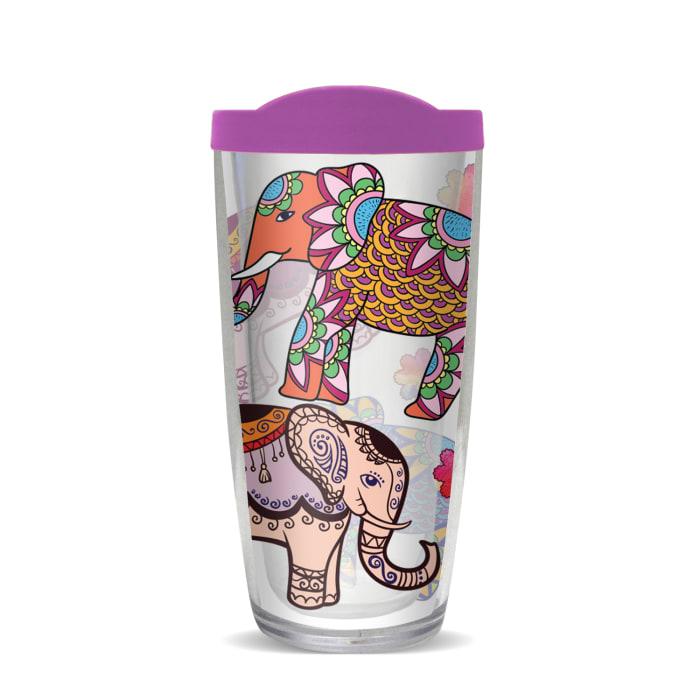 Ethnic Elephants Purple Lid Tumbler