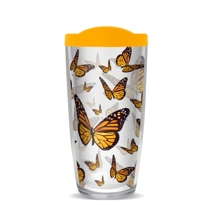 Monarch Butterflies Orange Lid Tumbler