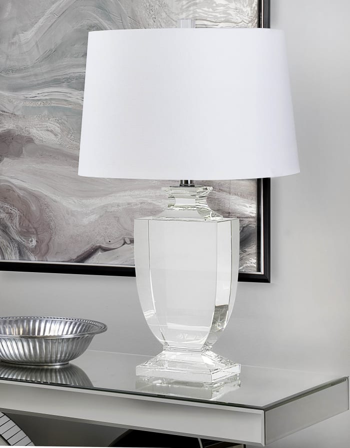 Clear Crystal with Chrome Finish and White Linen Shade Table Lamp