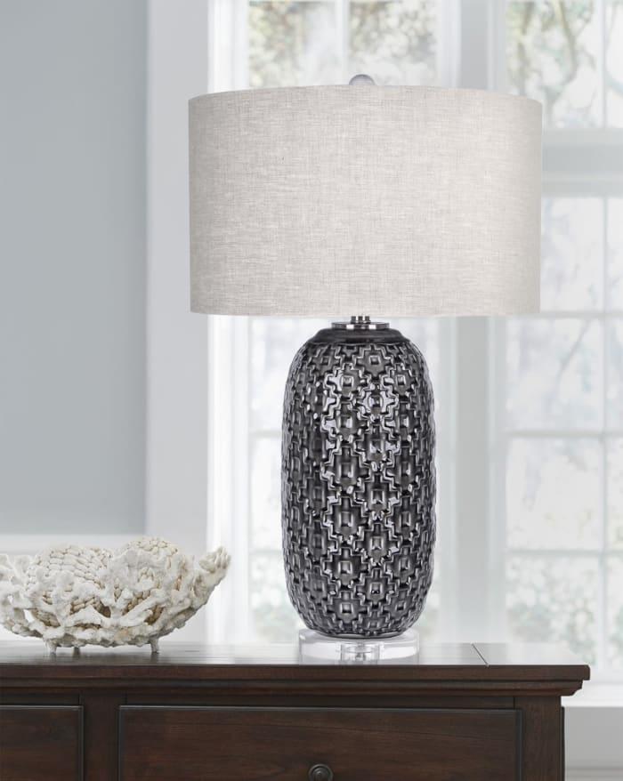 Crackled Dark Gray Ceramic Table Lamp