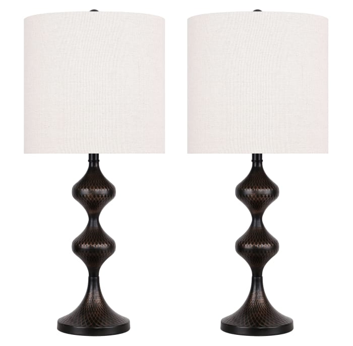 Antique Bronze  with Textured Geometric Patterned Base & Oatmeal Linen Shade Table Lamp