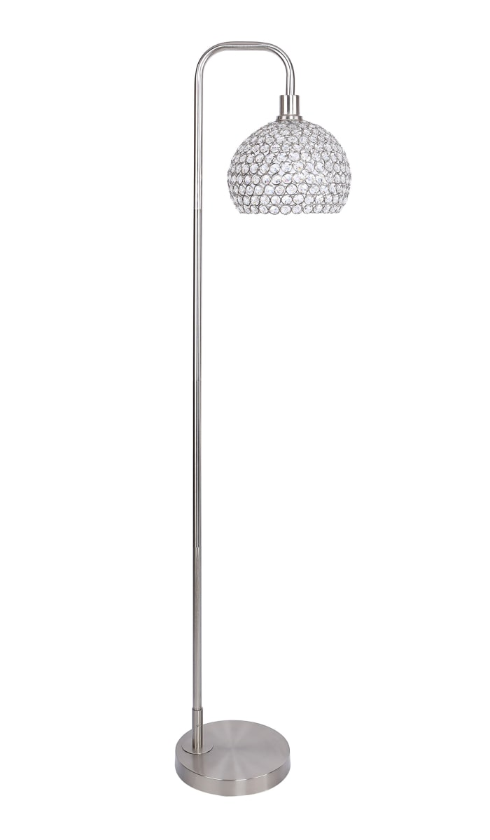 Brushed Nickel with Slim-line Arched Design and Crystal Bling Shade Floor Lamp