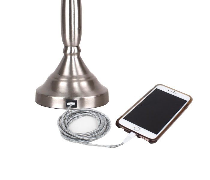 Brushed Nickel with USB Port in Base and Grey Linen ShadesTable Lamps