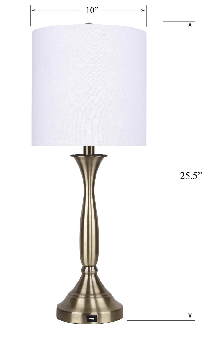 Antique Soft Brass with USB Port in Base and Off-White Linen Shades Table Lamps