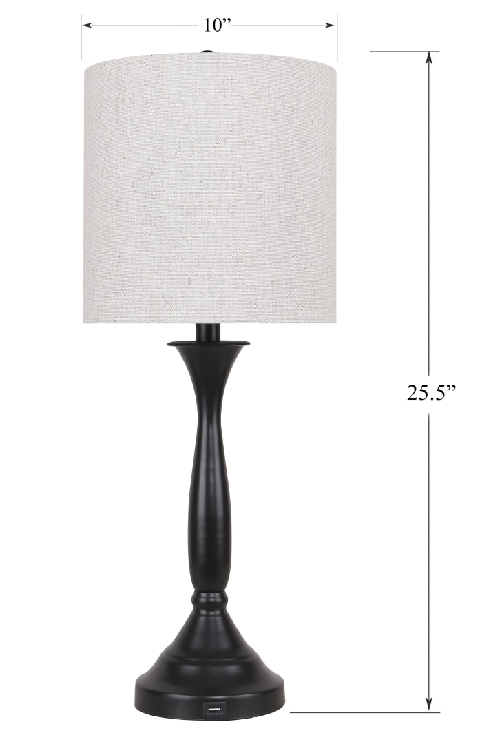 Oil Bronze with USB Port in Base and Natural Linen Shades Table Lamps