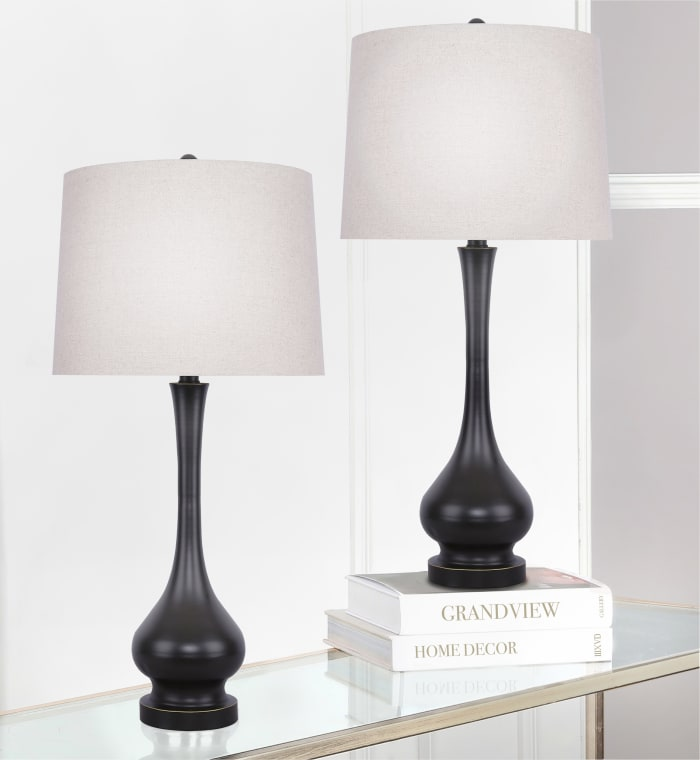 Oil Rubbed Bronze Metal with Oatmeal Linen Tapered Drum Shade Set of 2 Table Lamps
