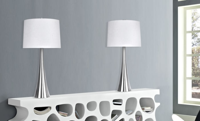 Brushed Nickel Metal Featuring Tapered Curve Design Set of 2 Table Lamps