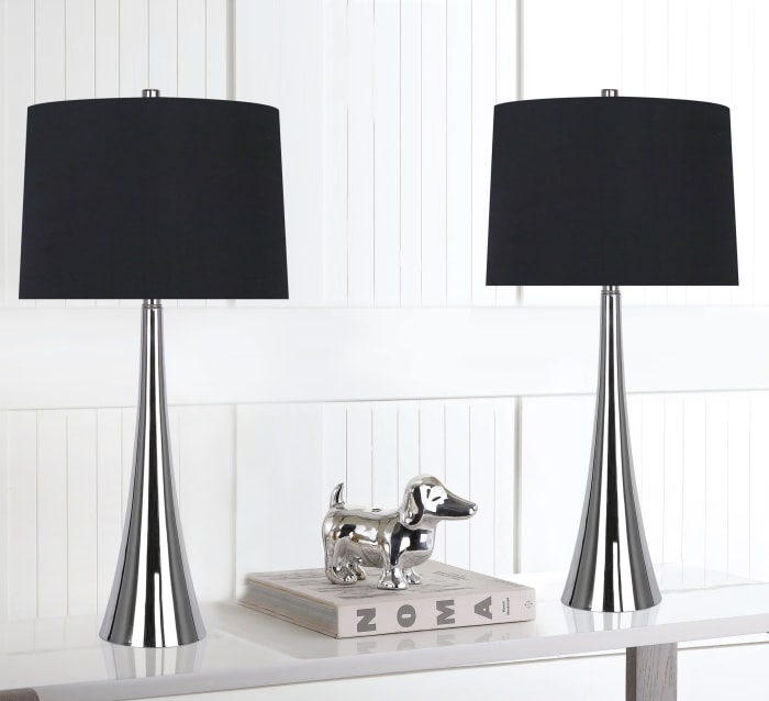 Polished Nickel Mirrored Metal with Black Silk-Like Drum Shades Set of 2 Table Lamps