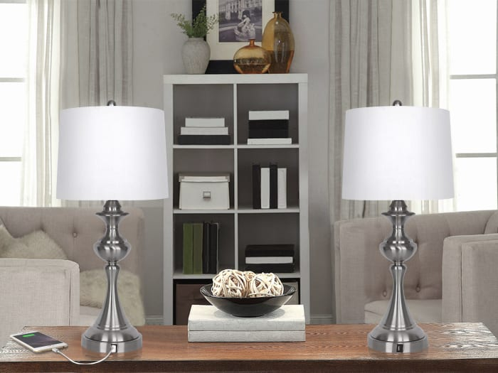 Brushed Nickel with 3-Way Switch Lamp and White Linen Shade, USB Charger in Lamp Base Set of 2 Table Lamps