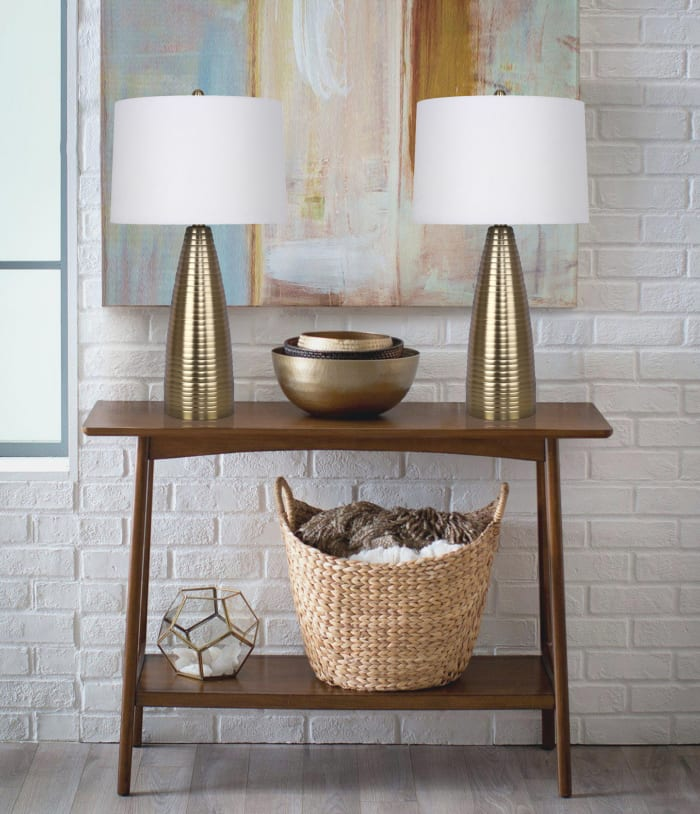 Plated Gold Metal Set of 2 Table Lamps