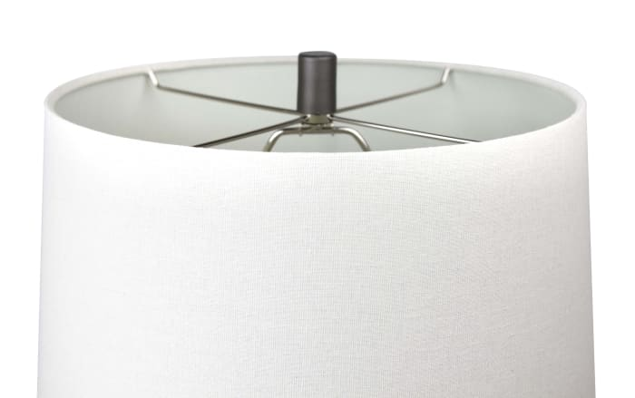Grey Slate Metal with Hourglass Body Design and Off-White Linen Tapered Set of 2 Table Lamps