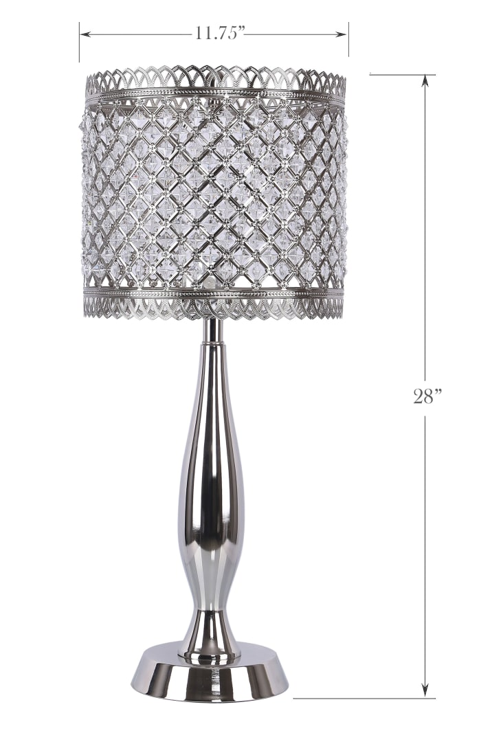 Polished Nickel with Crystalline Metal Shades Table Lamps