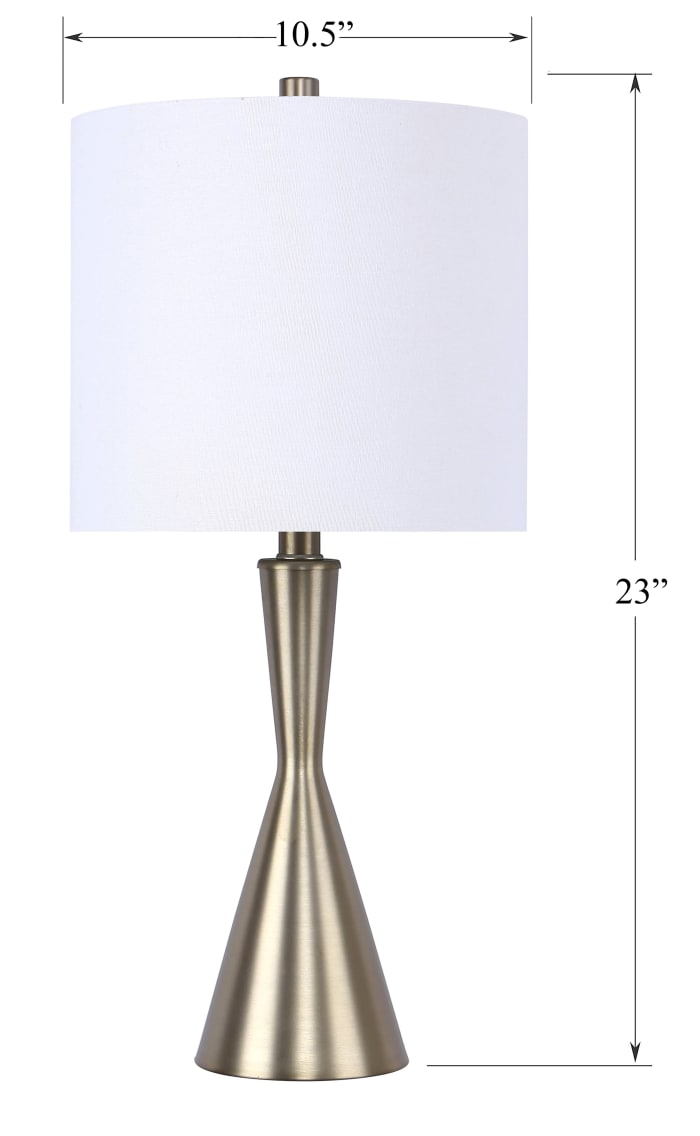 Gold Plated Table Lamps with Hourglass Body and Off-White Linen Drum Shades