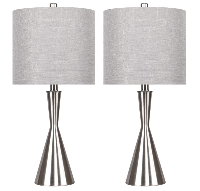 Brushed Nickel Table Lamps with Hourglass Body and Taupe Drum Shades