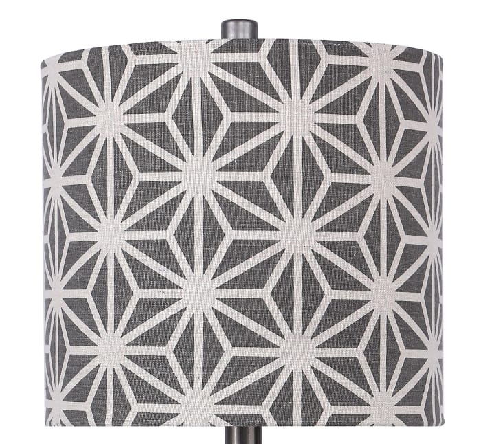 Vintage Metal Table Lamps with Hourglass Body and Patterned Drum Shades