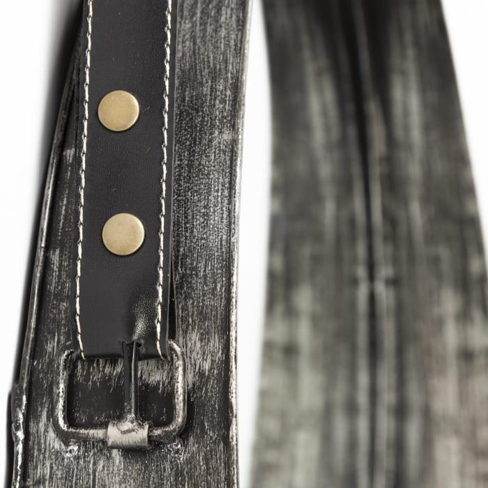 Northdale Round Black Metal Frame w/Leather Strap Mirror