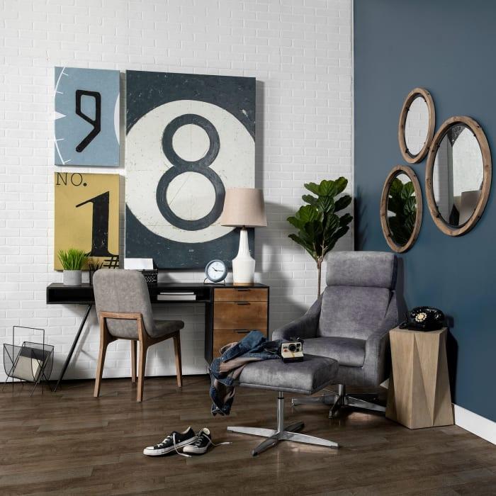Josi III Large Brown Wood and Black Metal Frame Mirror