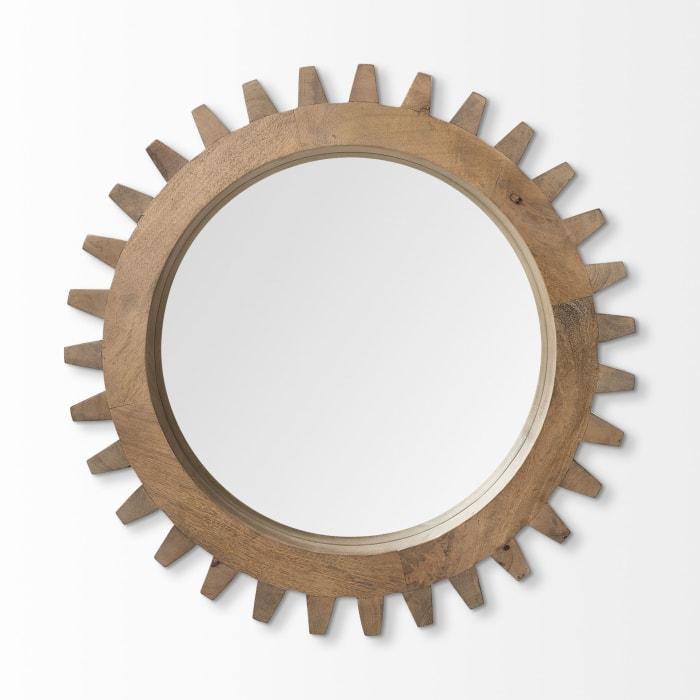 Sunrise Cog Round Brown Wood Frame Mirror