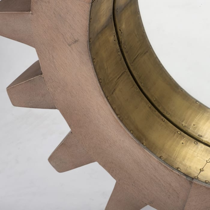 Revolve Cog Round Brown Wood Frame with Brass Metal Lining Mirror