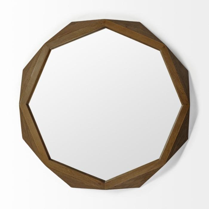 Aramis II Octagon Brown Wood Frame Wall Mirror