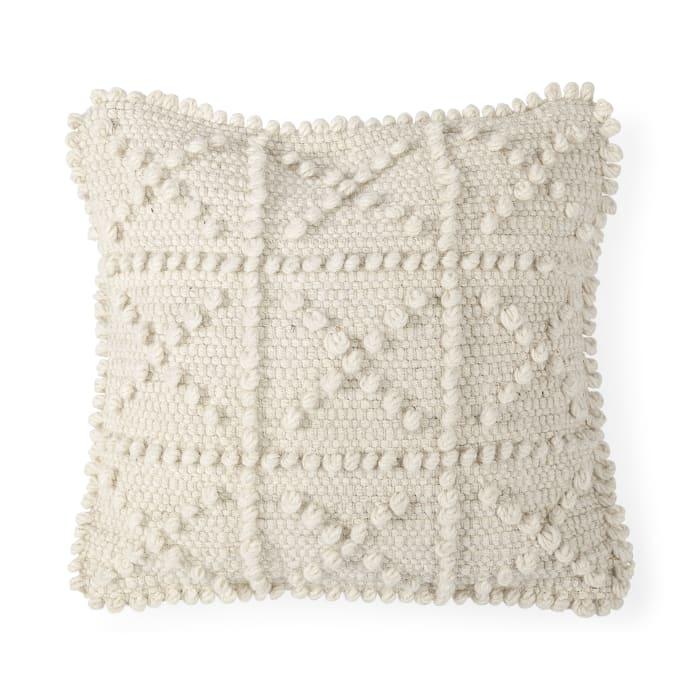 Leroy 18 x 18 Cream Raised Pattern Detail Decorative Pillow Cover