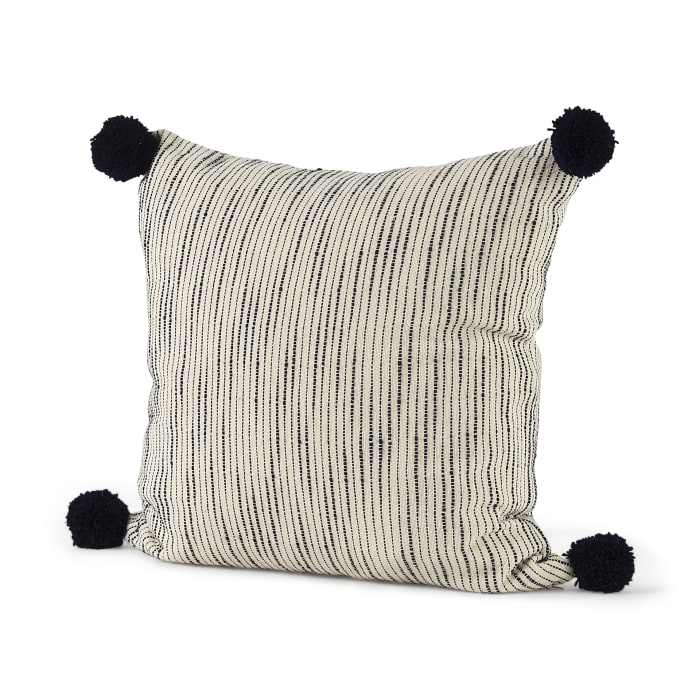 Krystal 20 x 20 Cream/Blue Pom Pom Decorative Pillow Cover