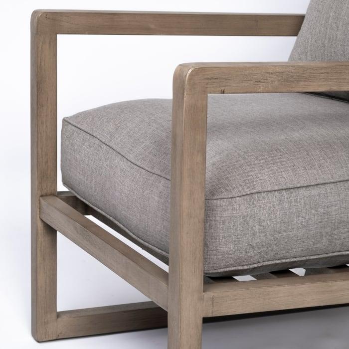 Sherlock Flint Gray Wood Frame Accent Chair