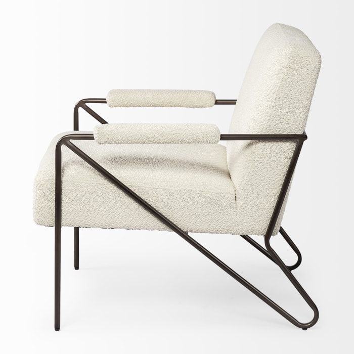 Vicunya off White Fabric Wrap Metal Frame Accent Chair