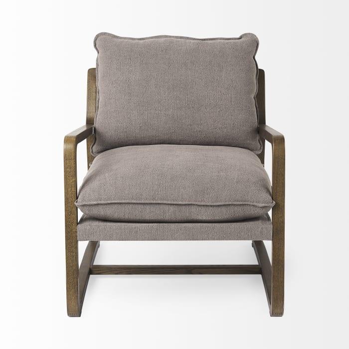 Brayden Dark Brown Wood With Gray Fabric Seat Accent Chair