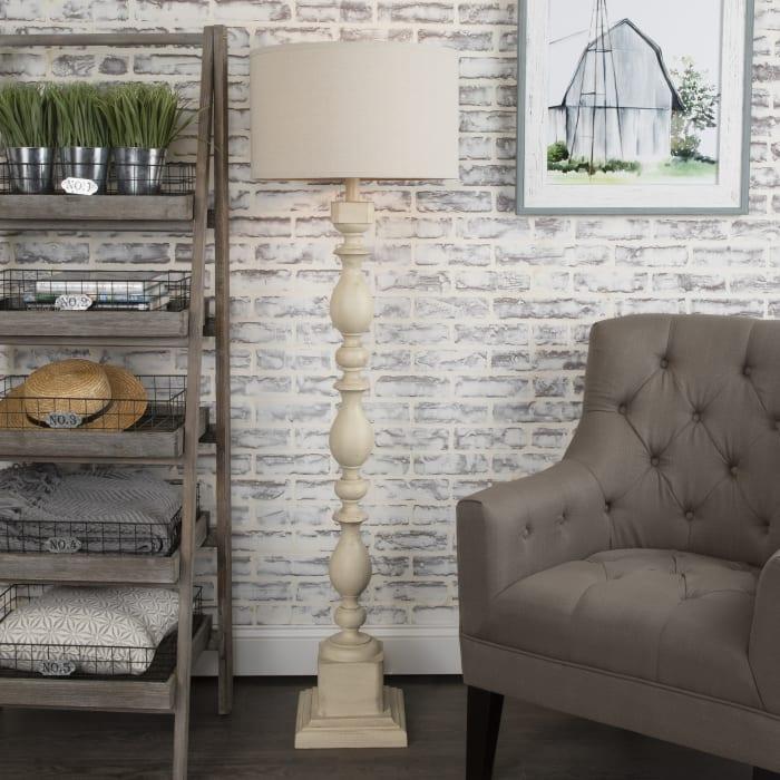 Benton Resin White Wash Floor Lamp