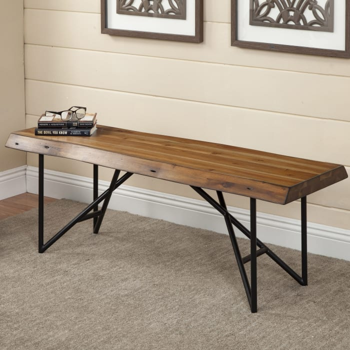 Live Edge Wood Bench in Light Walnut (Brown)