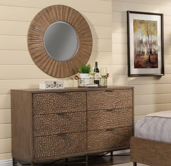 Brown Pearl Wood Mirror in Brown Bronze