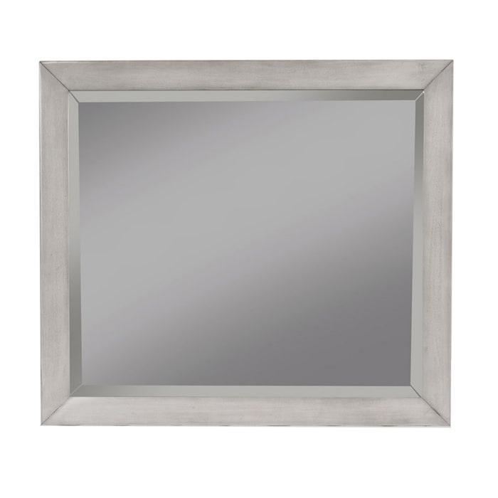 Flynn Mid Century Modern Wood Bedroom Mirror in Gray