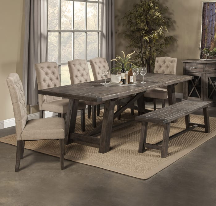Newberry Set of 2 Tufted Parson Dining Chairs in Salvaged Gray
