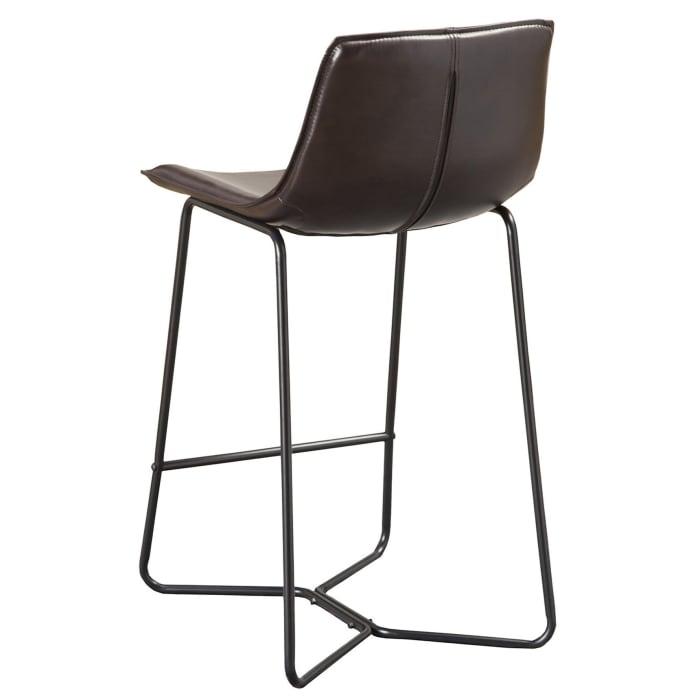Live Edge Set of 2 Dining Metal Leg Pub Chairs in Dark Brown