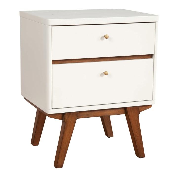 Dakota Two Drawer Wood Nightstand in White