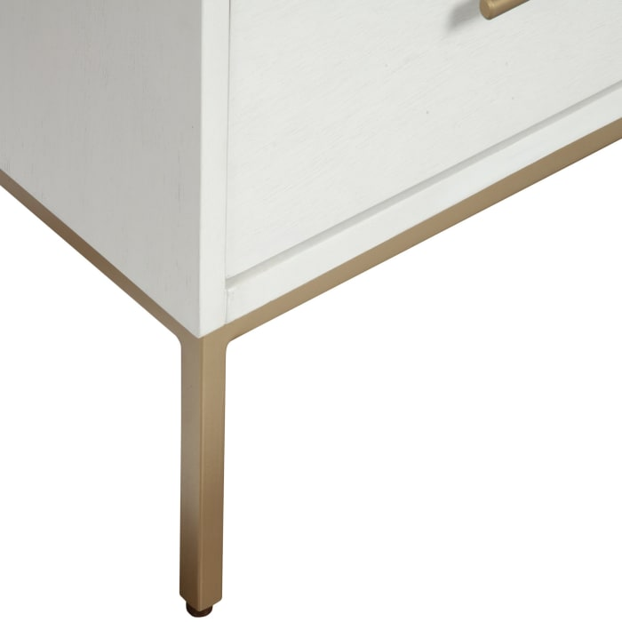 Madelyn Two Drawer Wood Nightstand in White