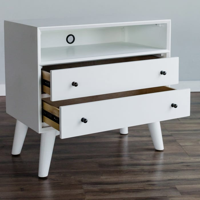 Flynn Wood Large Wood 2 Drawer Nightstand in White