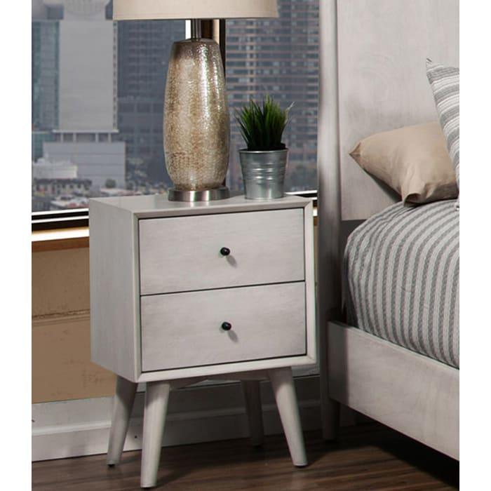 Flynn Mid Century Modern Wood 2 Drawer Nightstand in Gray